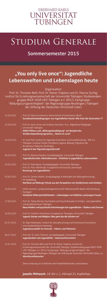Jugendliche Lebenswelten - SS 2015 - Plakat