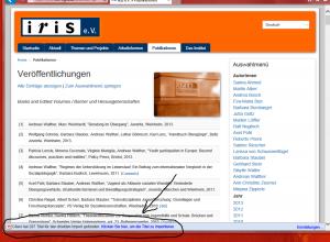 Screenshot Publikationsverzeichnis